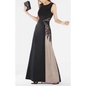 BCBGMaxAzria Malik Color-Blocked Open-Backed Gown